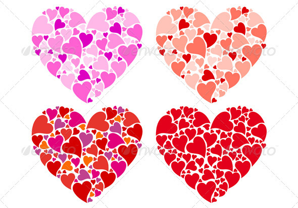 Heart Designs, Vector Set - Valentines Seasons/Holidays