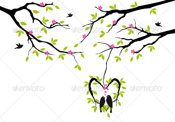 Birds On Tree In Heart Nest, Vector  - Valentines Seasons/Holidays