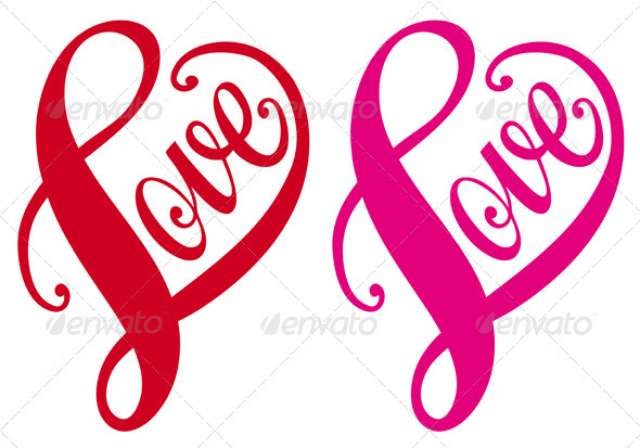 Love, Red Heart Design, Vector  - Valentines Seasons/Holidays