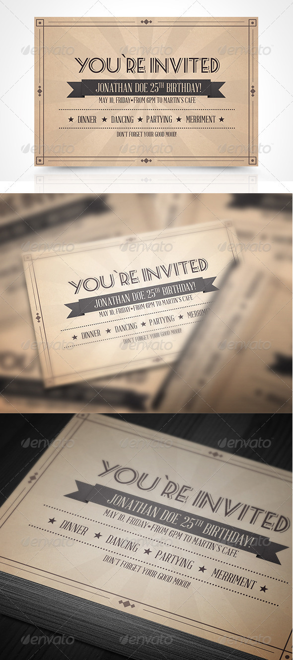 Vinatge Invitation Postcard - Invitations Cards & Invites