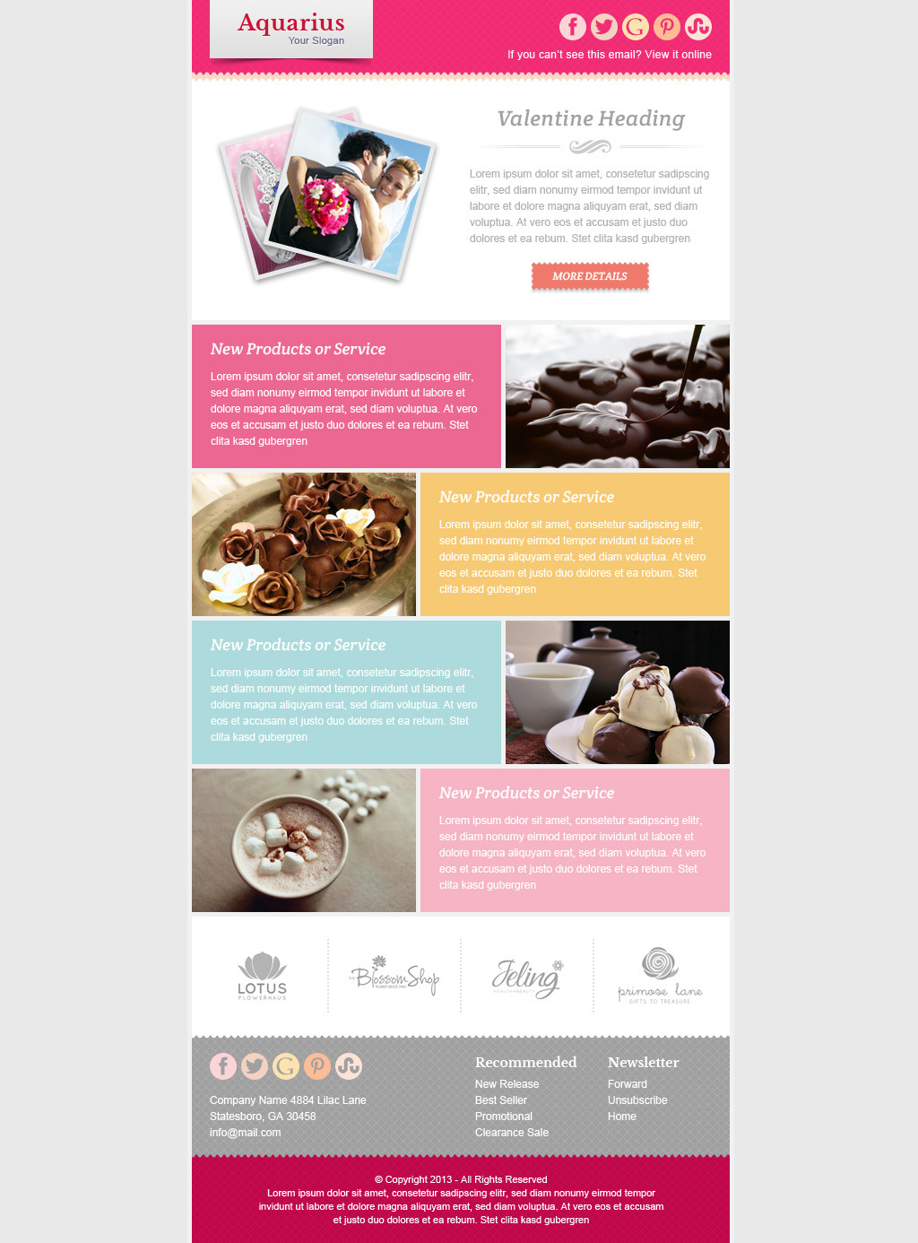 Valentine email marketing newsletter template by for Free promotional email templates