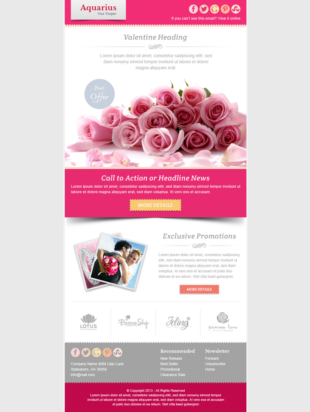 valentine email marketing newsletter template - Newsletter Templates