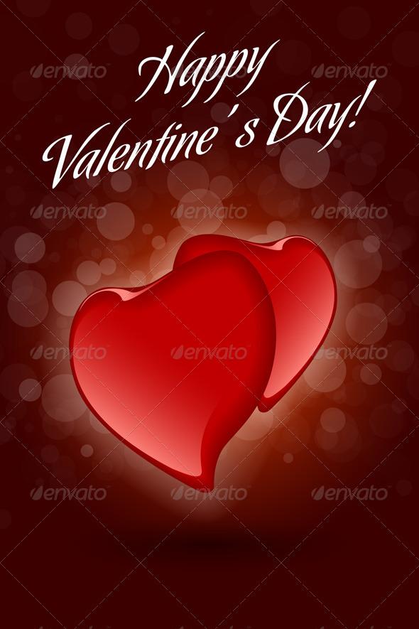 Red Valentine Hearts on Dark Decorative Background - Valentines Seasons/Holidays