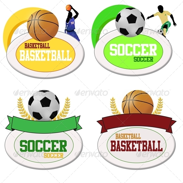 Basketball and Footballs Icons - Sports/Activity Conceptual