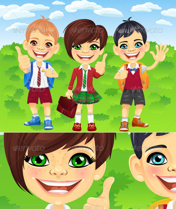 Vector Smiling Schoolchildren Boys and Girl - People Characters