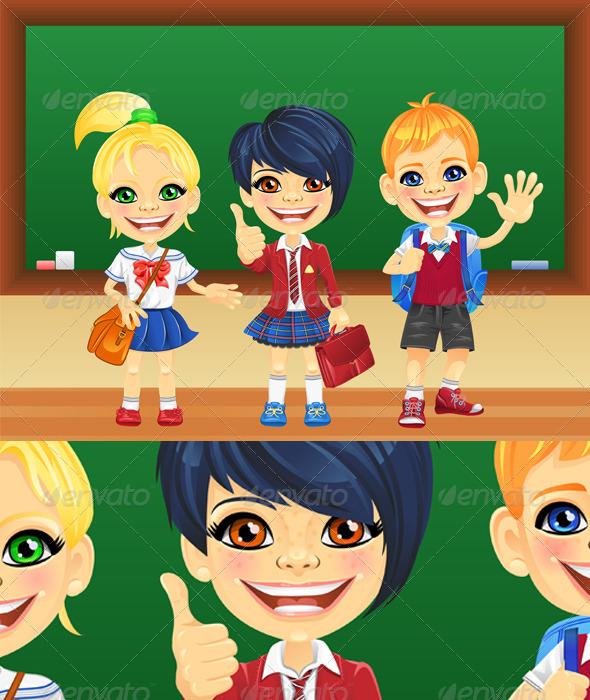 Vector Smiling Schoolchildren near Blackboard - People Characters