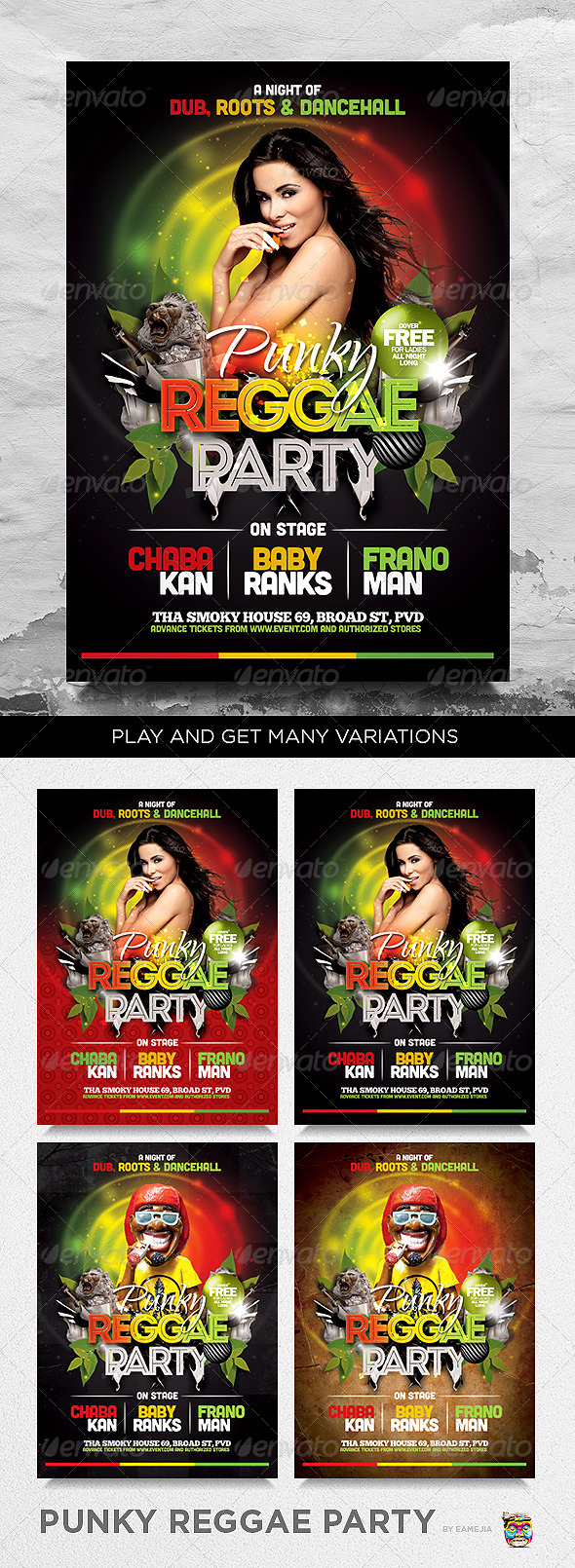 Punky Reggae Party Flyer Template - Clubs & Parties Events
