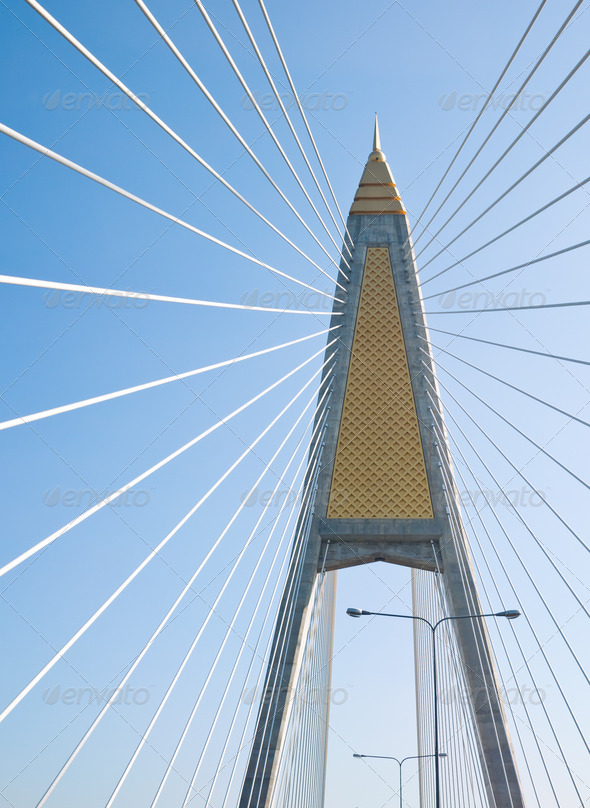 Cable-stayed bridge in Bangkok - Stock Photo - Images