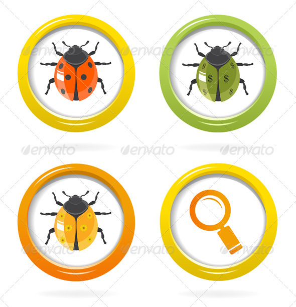Ladybird Glossy Icon In Colorful Bubble - Animals Characters
