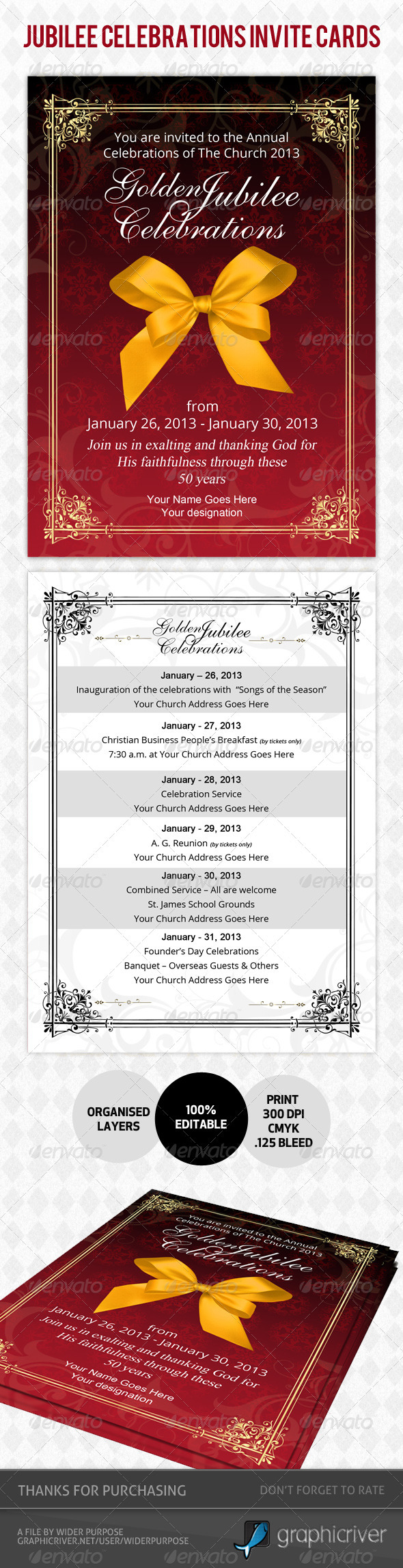 Golden Jubilee Invitation Card Psd Template - Invitations Cards & Invites