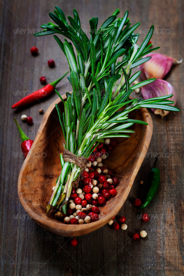 spices on a wooden board - Stock Photo - Images