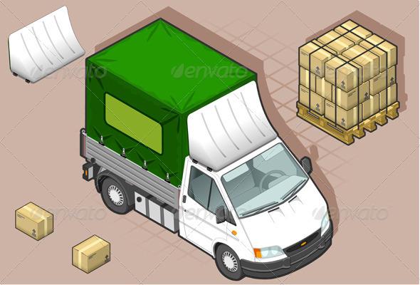Isometric White Van with Tarpaulin - Miscellaneous Vectors