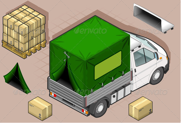 Isometric White Van with Tarpaulin - Miscellaneous Vectors