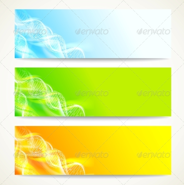 DNA Banners Set. - Abstract Conceptual