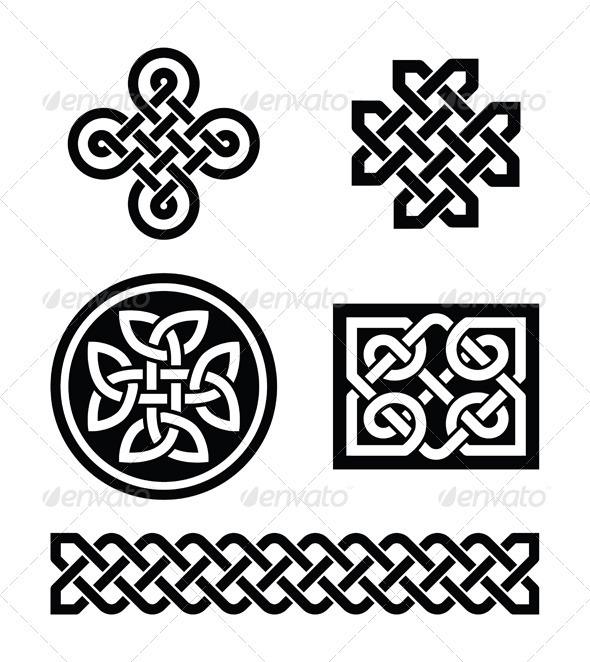 Celtic Knots Patterns - Vector - Decorative Symbols Decorative