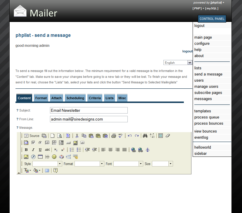 PHPList Mailer - Sleek Administrator Interface by siredesigns ...