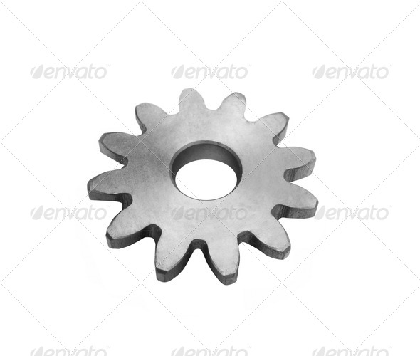 Metal gears isolated against on white - Stock Photo - Images