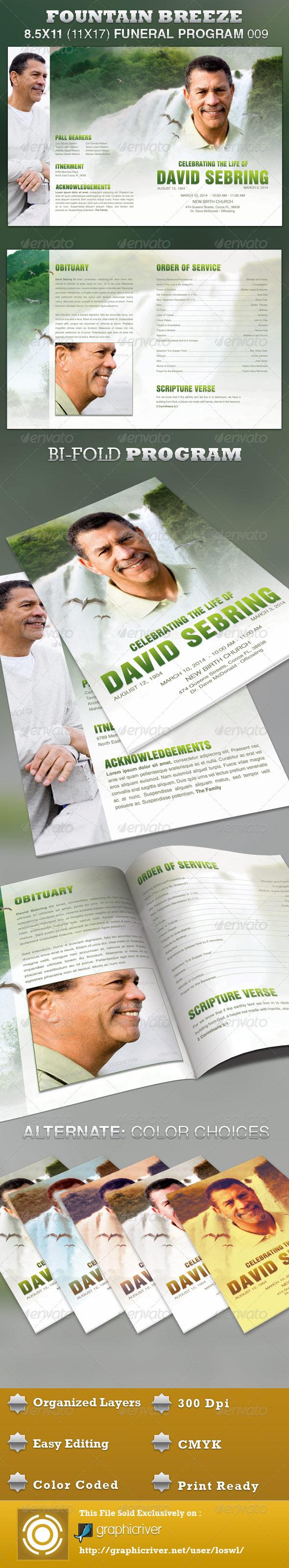 Fountain Breeze Funeral Program Template 009 - Informational Brochures