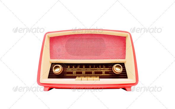 vintage radio isolated on white background - Stock Photo - Images
