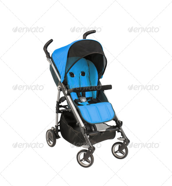 blue baby carriage isolated - Stock Photo - Images