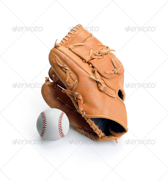 Baseball glove and ball isolated - Stock Photo - Images