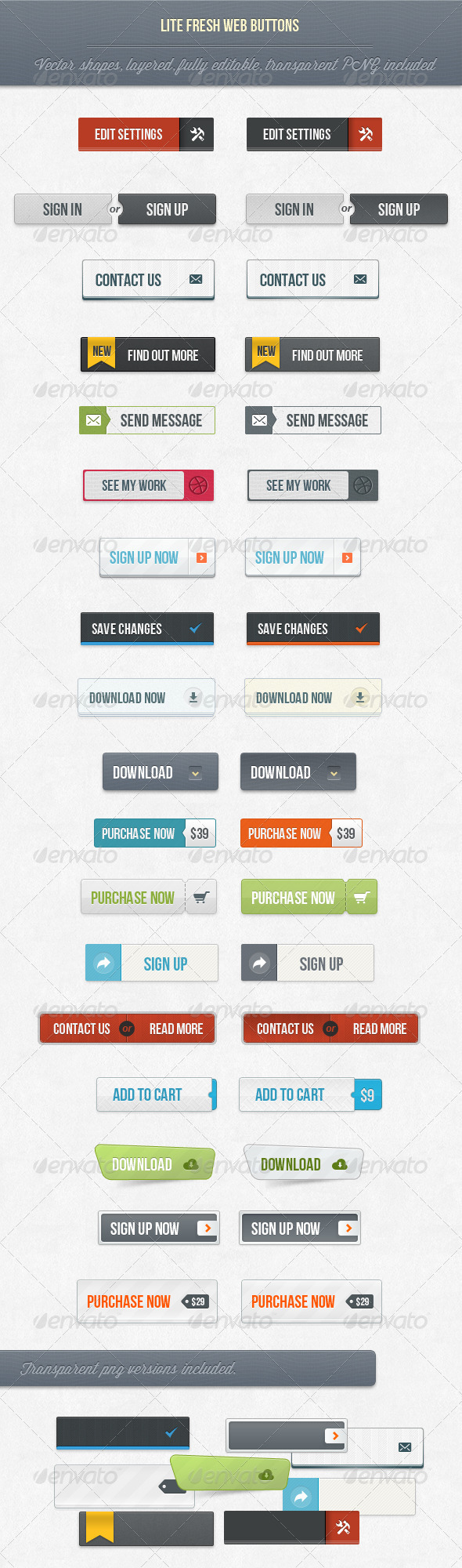 18 Lite Fresh Web Buttons - Buttons Web Elements