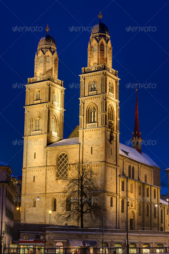 The Grossmunster at night - Stock Photo - Images