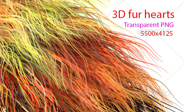 3d Fur Hearts - 3D Backgrounds