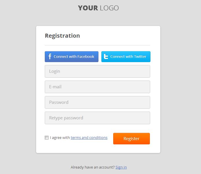 Usable CSS Login & Register Form