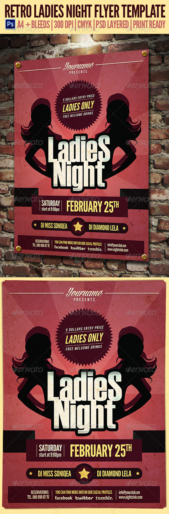 Retro Ladies Night Flyer Template - Clubs & Parties Events