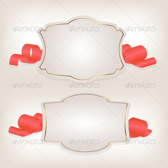 Romantic Label with Ribbon Vector Illustration - Valentines Seasons/Holidays