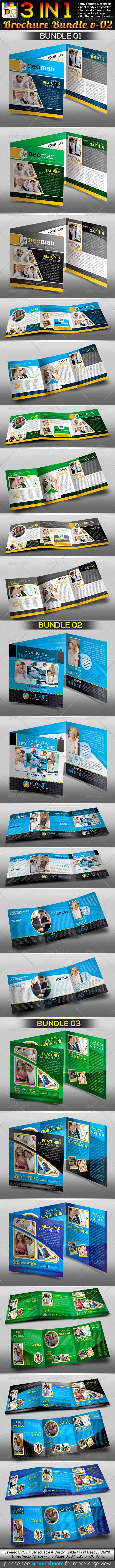 3in1 : Corporate Tri-fold Business Brochure Bundle - Corporate Brochures