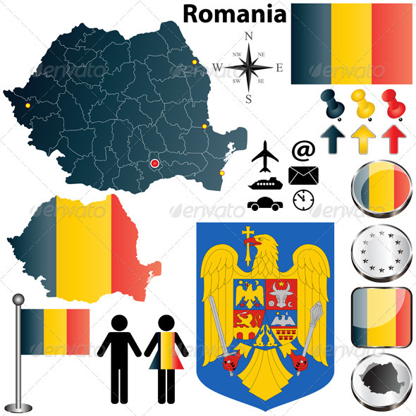 Romania map - Travel Conceptual