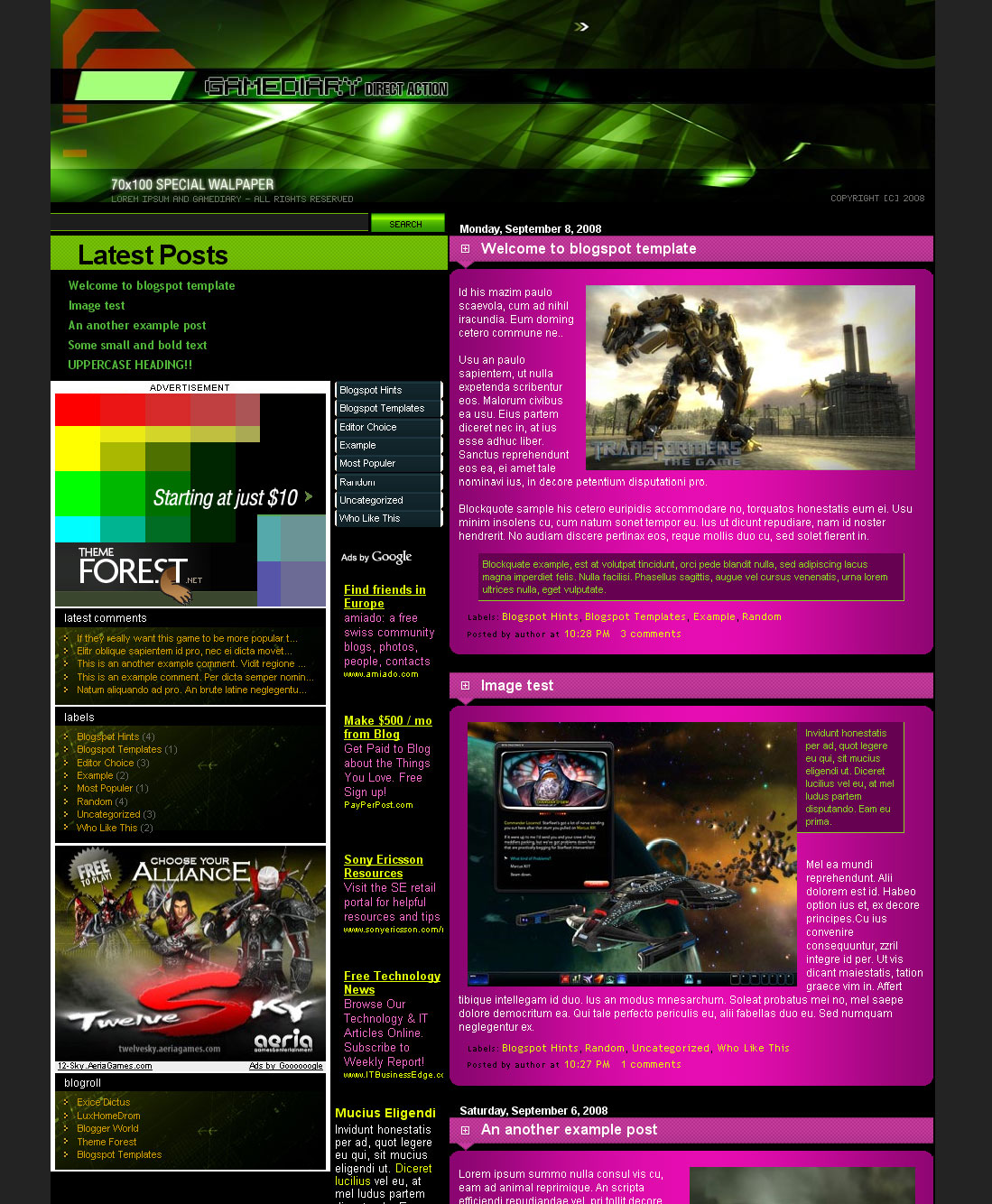 Free Download gamediary blogger templates Nulled Latest Version