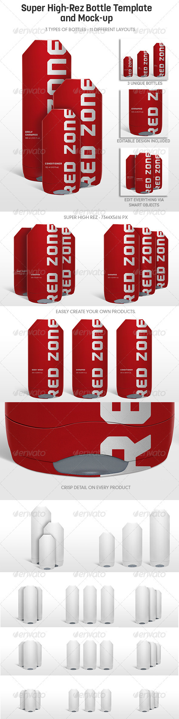 Multi-Purpose Highrez Bottle Mockup & Template - Food and Drink Packaging