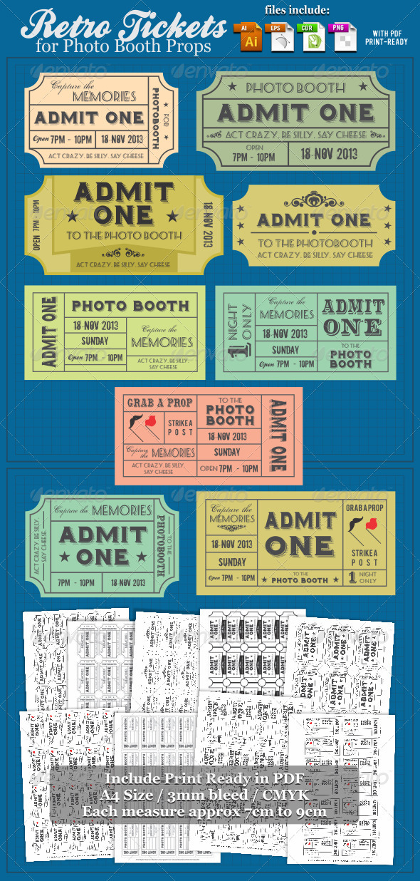 Retro Tickets For Photobooth Props - Miscellaneous Seasons/Holidays