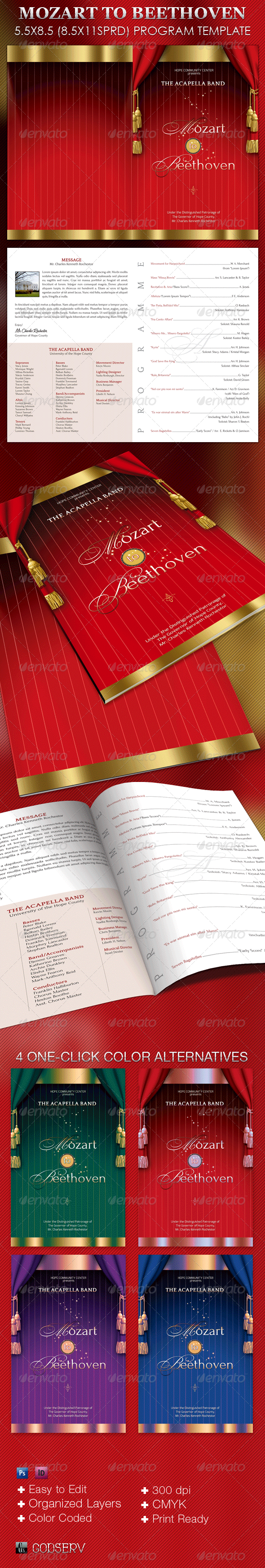 Mozart Beethoven Program Template - Informational Brochures