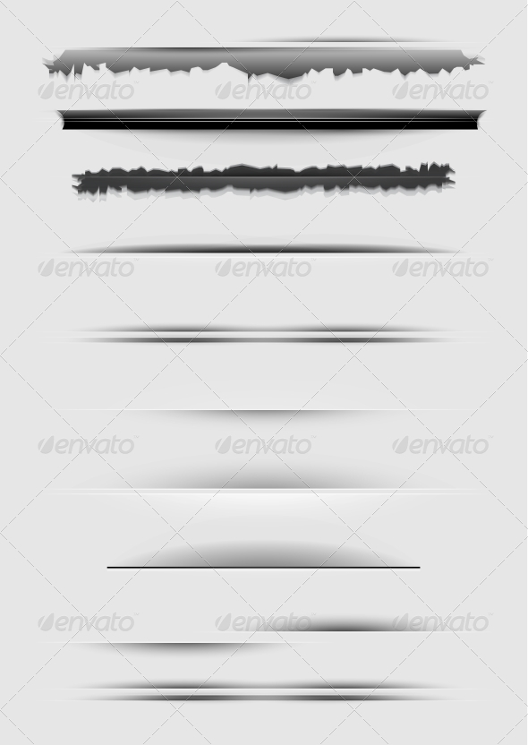 Vector Set of Abstract Dividers Isolated on Gray - Web Elements Vectors