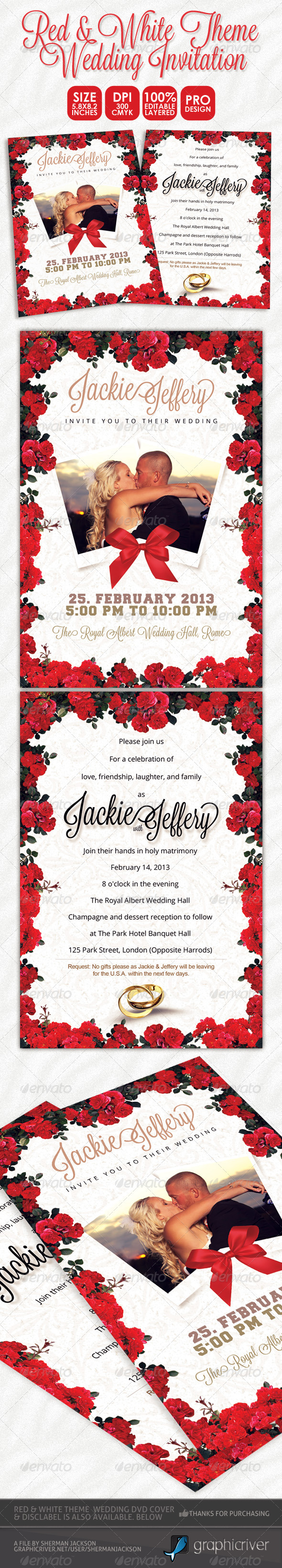 Red & White Theme Wedding Invitation Card - Weddings Cards & Invites