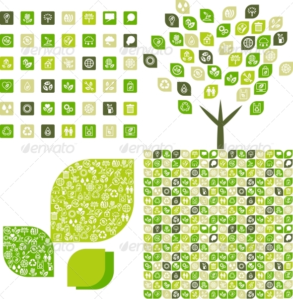 Collection eco web icons and backgrounds. - Web Technology