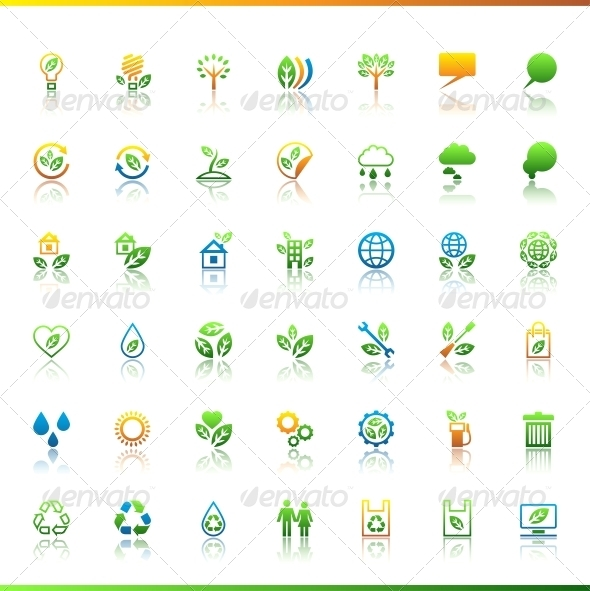 Collection eco web icons. - Web Technology