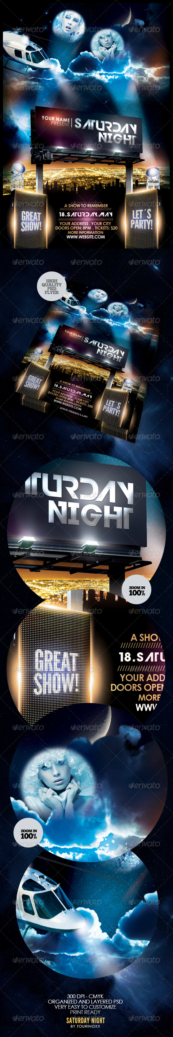 Saturday Night Flyer Template - Clubs & Parties Events