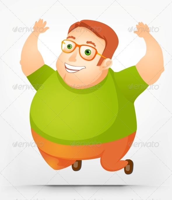 Cheerful Chubby Man - People Characters