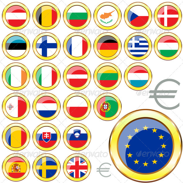 European Union Buttons - Travel Conceptual