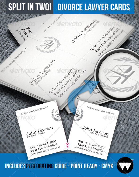 Divorce Lawyer Split Business Card - Industry Specific Business Cards