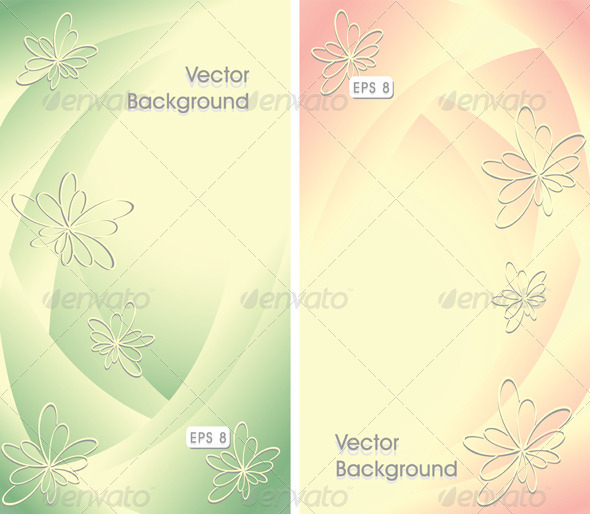 Two Abstract Backgrounds with Flowers - Backgrounds Decorative