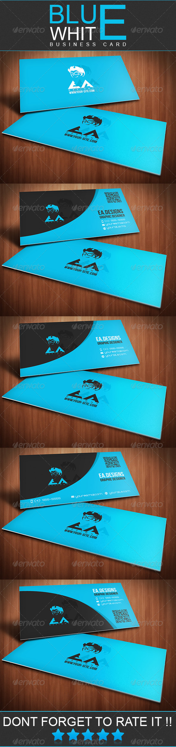 Blue White Business Card - Creative Business Cards