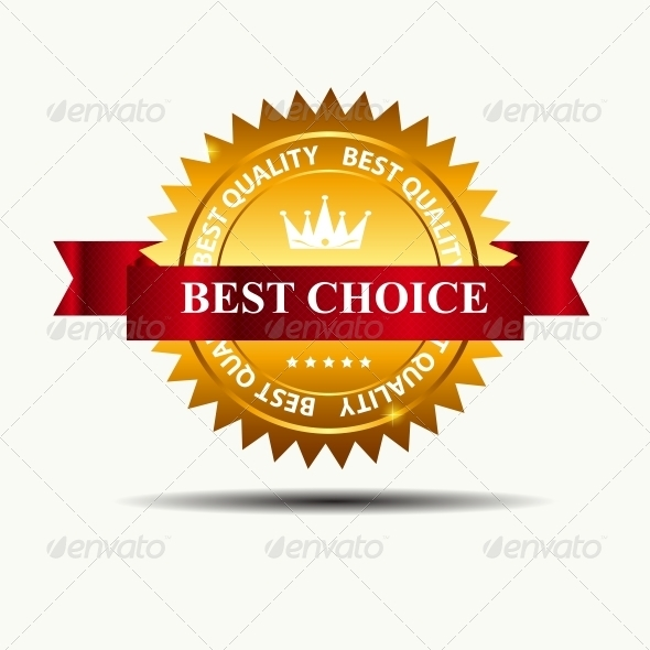 Vector Best Choice Label with Red Ribbon - Retail Commercial / Shopping