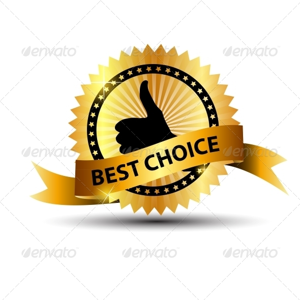 Vector Best Choice Label with Gold Ribbon - Retail Commercial / Shopping
