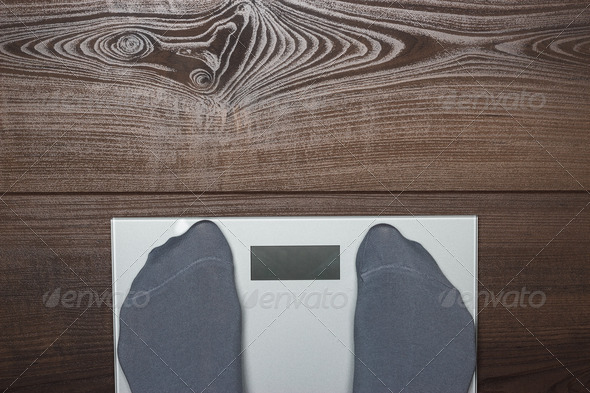 Electronic Scales On The Wooden Floor - Stock Photo - Images